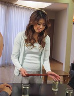 Reina Nishio Asian has vibrator in hairy cooter and cum in mouth