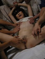 Aoba Itou split wide and left dripping cum from her face and puss