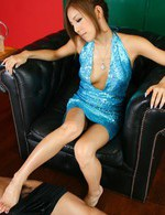 Yui Hatano Asian in blue dress rubs cock with feet till gets cum