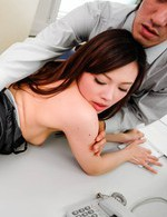 Aiko Hirose Asian in fishnet stockings is fucked while sucks dick