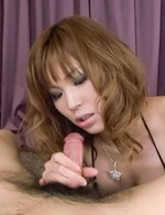 Ai Sakura Asian plays with tongue on penis till gets cum in mouth