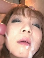 Mizuki Ishikawa Asian sucks and rubs dicks and gets cum on mouth