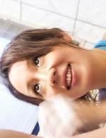 精子大好き!舞織瑠姫ちゃんがスケスケの青いマイクロビキニ姿で足コキ&フェラご奉仕。濃いザーメンをお口でキャッチ!