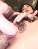 Manami Komukai Asian sucks vibrator she fucks her love box with