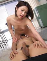 Kaoru Natsuki Asian sucks strong boner and has hairy slit licked