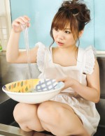 Japanese cutie Aoi Mizumori playing around in the kitchen