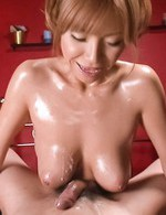 Sumire Matsu Asian teases dick with her oiled cans and gets cum