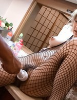 Madoka Ayukawa in fishnet outfit has fingers and vibrator in slit