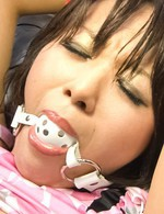Haruka Uchiyama Asian with ball in mouth has vibrator on nooky