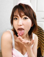 Airi Nakajima Asian has cum pouring from mouth after good blowjob