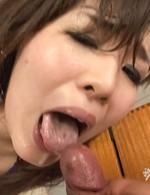 Yume Sazanami Asian puts cum she gets from blowjobs on big boobs