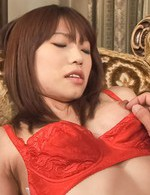 Ibuki Asian in red stockings has shaved poonanie fucked like hell