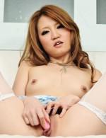 Sakamoto Hikari in blue satin punishes her pussy hole