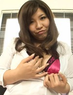 Yume Sazanami Asian with huge boobs spreads labia and shows cunt