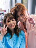 Nao Asian and her girlfriend in bathrobes are naughty and happy