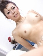 Yuki Asami Asian with small nipples rides boner with dark cunt
