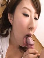 Mai Asahina Asian in thong sucks and licks crown jewels and penis