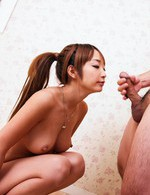 Sana Anzyu Asian with big naughty assets strokes two shlongs