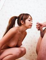 Eカップ美巨乳杏樹紗奈ちゃんが、「ザーメン、紗奈が飲んでもいいですか?」と囁きながらフェラ。大好きな精子をゴックン!