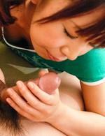 Maki Sakashita Asian sucks boner and teases it with her assets