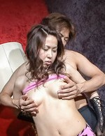 Chie Inamori Asian with gloves and nude hooters sucks joystick