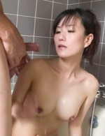 Manami Komukai Asian with big assets gives blowjob in bathtub