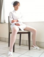 Japanese nurse Miina Minamoto alone and toying in a room