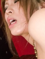 Ai Sakura Asian with oiled curves rubs her clit and rides dildo