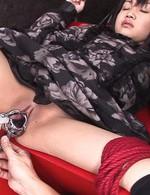 Hikaru Momose Asian gets vibrators in shaved cunt under dress