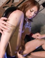Miharu Kai Asian with tied hands gets finger and vibrator in slit