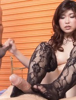 Ai Okada Asian sucks dicks and rubs them with soles in stockings