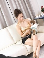 Yuki Asami Asian with ass up in the air licks and sucks fake cock