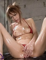 Rina Asian with oiled body gets cum on thick lips from shlongs