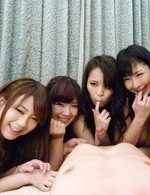 Yui Nanase Asian and chicks play with same dong and have an orgy