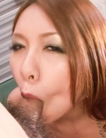 Miharu Kai Asian is expert in sucking and licking dick and balls