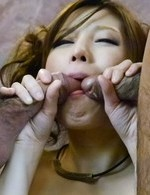 Tsubasa Aihara Asian is fucked and gets cum from two shlongs