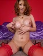 Yuki Touma Asian fingers her oiled nooky while giving blowjob