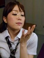 Moe Sakura is so erotically licking cum after sucking two dongs