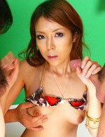 Rino Asuka Asian gets cum on boobies after sukicng two boners