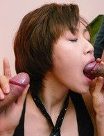Akina Hara Asian has cum on face from licking and sucking penises