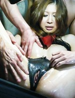 Rika Aina Asian has pussy fucked through crotchless panty by men