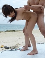 Nanaka Kyono Asian has pussy rubbed and screwed a lot on beach