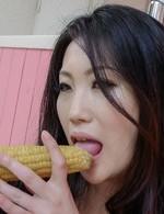 Naomi Sugawara rubs nipples with tomato and fucks with vegetables
