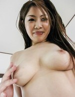 Rika Minamino Asian shows big tits and dark pussy before frigging