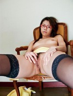 Mizuki Ogawa Asian with specs has nipples and nooky rubbed by men
