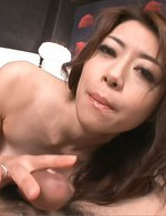 Maki Hojo Asian with naughty boobs licks head of hard phallus