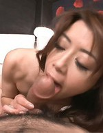Maki Hojo Asian in sexy lingerie sucks and licks one huge stiffy