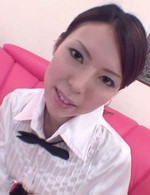 Rino Asuka Asian in office uniform rubs phallus with her feet