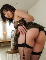Kyoka Mizusawa in stockings shows fish taco while sucking tool