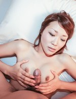Rui Asian is nailed in hairy vagina by dong she rubbed with cans